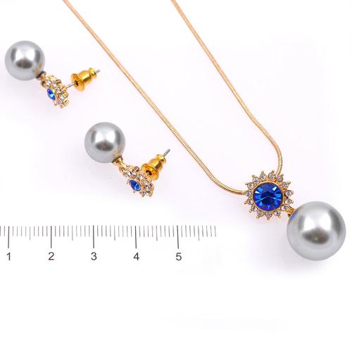 Бижута с перли ХАЙДИ, Колие и Обеци със Синтетични перли и Австрийски кристали, Код UB S291
