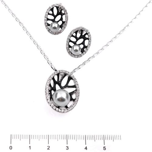 Бижута с перли КРИСТИ, Колие и Обеци със Синтетични перли и Австрийски кристали, Код UB S297