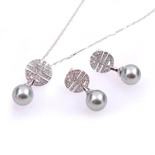 Бижута с перли ВАНИНА, Колие и Обеци със Синтетични перли и Австрийски кристали, Код UB S300