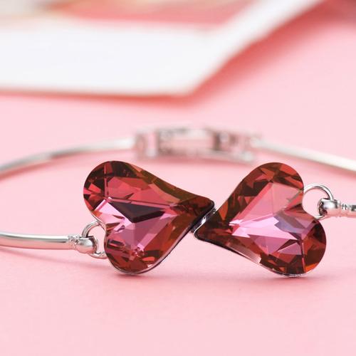 Колие, обеци и гривна PURPLE HEART NEW, Бижута ZYRDA Crystals from SWAROVSKI®, Код ZD S017А