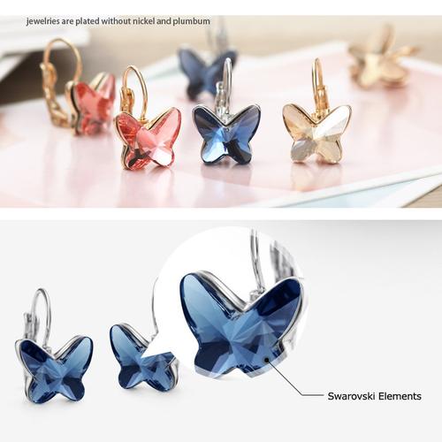 Луксозни Обеци BUTTERFLY BLUE, ZYRDA Swarovski Elements, Код ZD E007