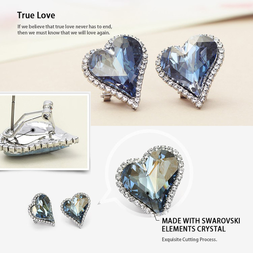 Луксозни Обеци HEART IN LOVE, ZYRDA Swarovski Elements, Код ZD E008
