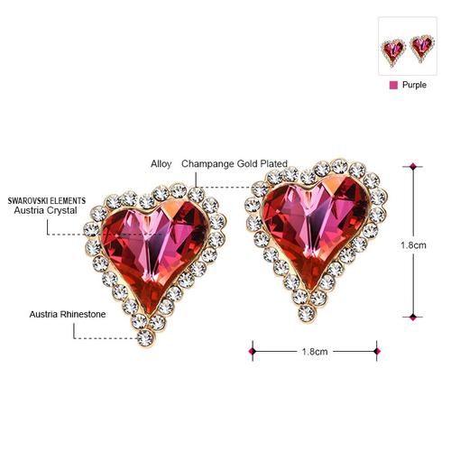 Луксозни Обеци PURPLE HEART, ZYRDA Swarovski Elements, Код ZD E012