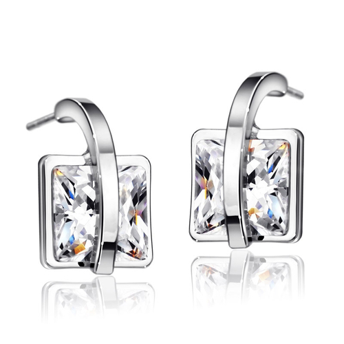 Обеци SILVER SQUARE, ZYRDA Crystals from SWAROVSKI®, Код ZD E027