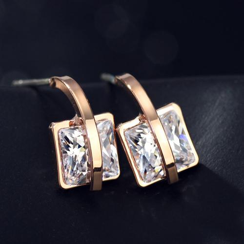 Обеци GOLD SQUARE, ZYRDA Crystals from SWAROVSKI®, Код ZD E028
