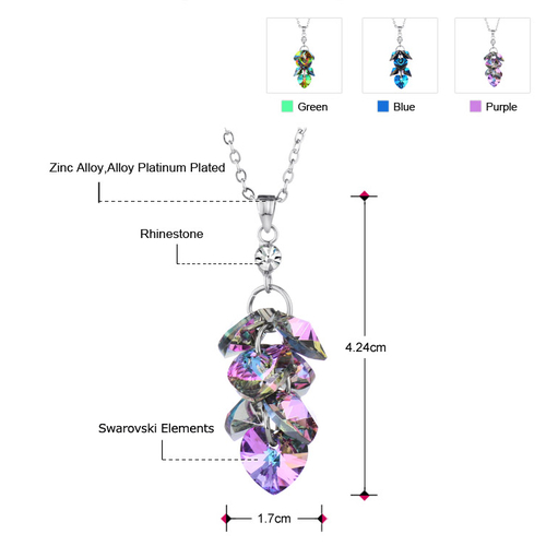 Луксозно Колие CRYSTAL HEARTS - BLUE, ZYRDA Swarovski Elements, Код ZD N012