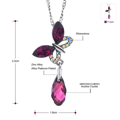 Красиво Колие CRYSTAL BUTTERFLY, ZYRDA Swarovski Elements, Код ZD N021