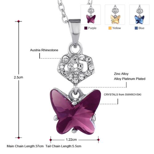 Колие AMETHYST BUTTERFLY, ZYRDA Crystals from SWAROVSKI®, Код ZD N029