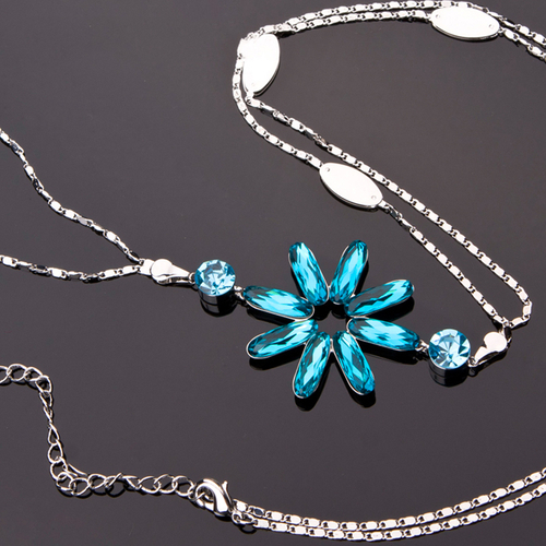Колие TURQUOISE FLOWER, ZYRDA Crystals from SWAROVSKI®, Код ZD N034