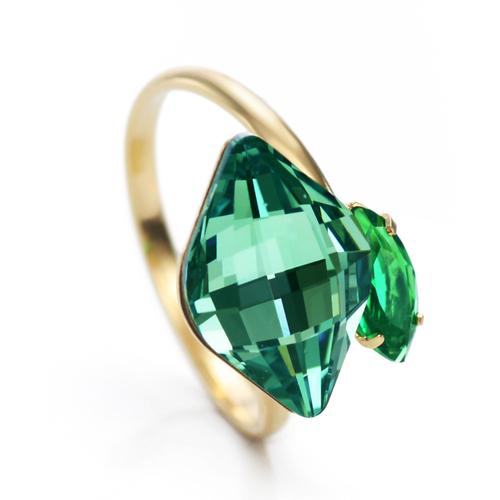 Пръстен GREEN STONE, ZYRDA Crystals from SWAROVSKI®, Код ZD R007