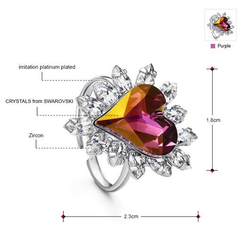 Колие, обеци, гривна и пръстен PURPLE HEART NEW, Бижута ZYRDA Crystals from SWAROVSKI®, Код ZD S017B
