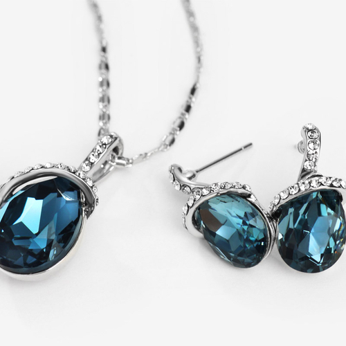 Колие и обеци TEAR DROP BLUE , Бижута ZYRDA Crystals from SWAROVSKI®, Код ZD S009