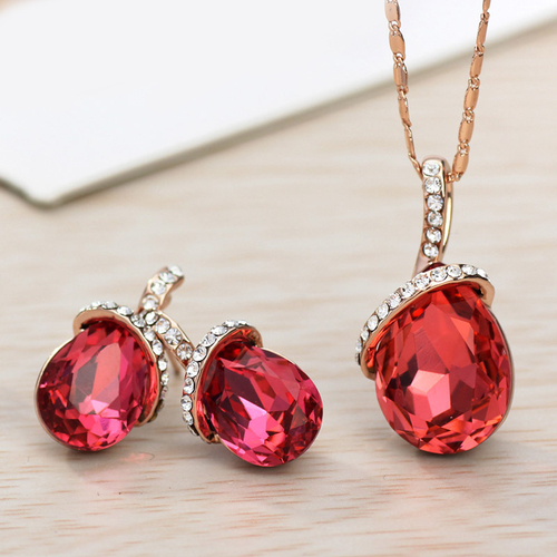 Колие и обеци TEAR DROP RED , Бижута ZYRDA Crystals from SWAROVSKI®, Код ZD S010