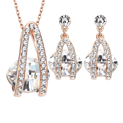 Колие и обеци MY EYES WHITE, Бижута ZYRDA Crystals from SWAROVSKI®, Код ZD S012