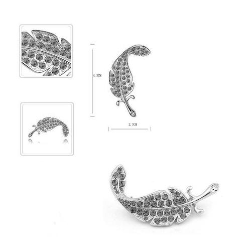 Луксозна Брошка с Форма на Перо, Сваровски Елементи, ZG M003