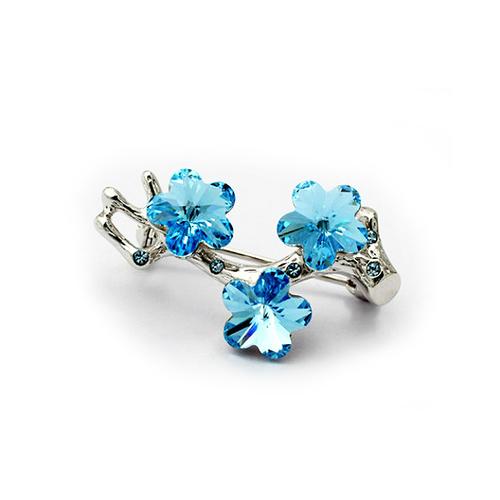 Луксозна Брошка с Форма на Цветя Сини, Сваровски Елементи, ZG M006