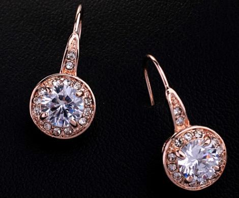 ZG E802 Обеци ПРИНЦЕС Swarovski Elements, колекция Zerga, розово златно покритие