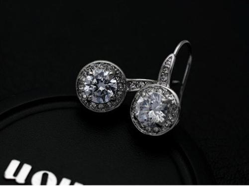 ZG S813 Бижута ПРИНЦЕС Swarovski Elements, колекция Zerga, колие, обеци и пръстен, 18К бяло златно покритие,