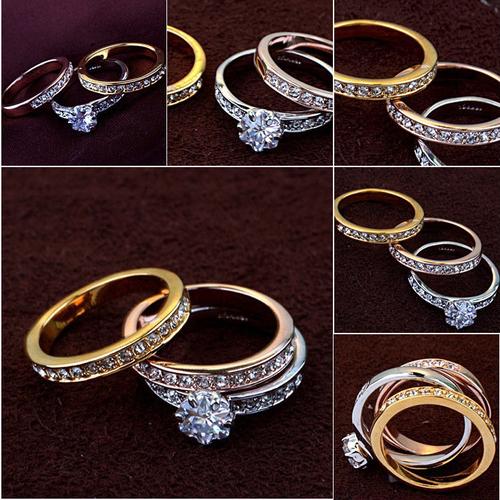 Пръстен ТРОЕН Swarovski Кристали и 18К Розово, Жълто и Бяло Злато, Колекция Zerga Brand ZG R809