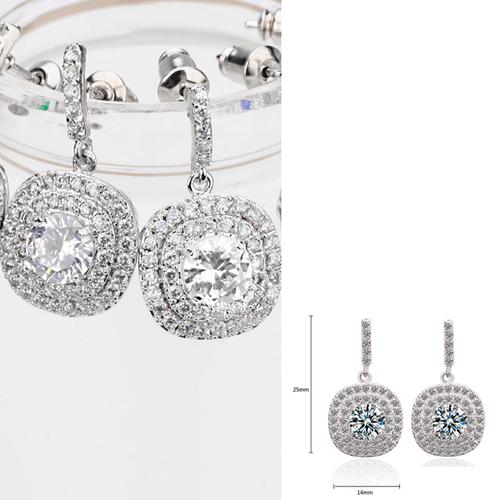 Луксозни Обeци АТИНА ПАЛАДА, 18К бяло злато и Swarovski Elements, колекция Zerga Brand, Код ZG E032