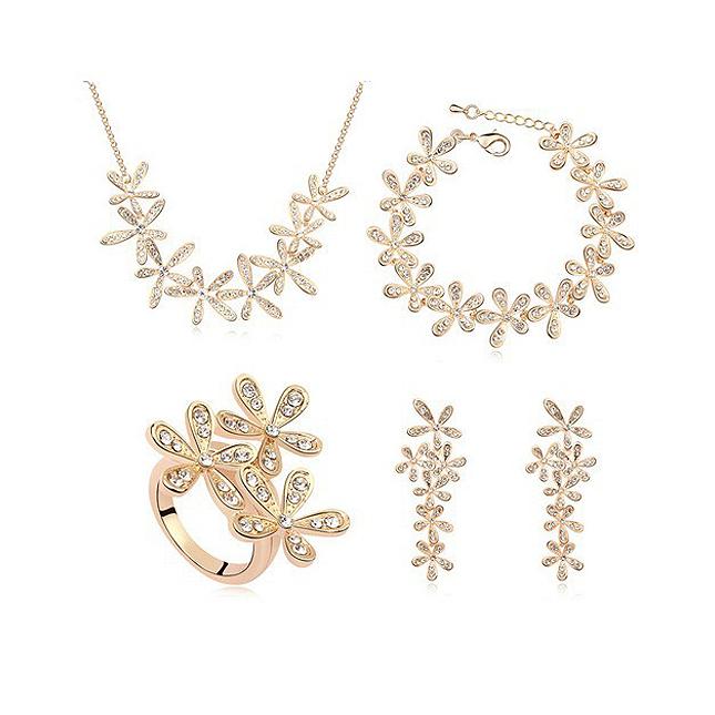527fa0490e2 Комплект ЖАСМИН Swarovski кристали, Колие, обеци пръстен и гривна, жълто  злато, ...