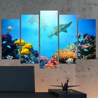 Декоративни панели за стена Vivid Home с уникален цветен изглед от морското дъно с акули
