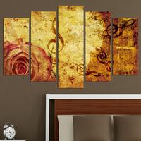 Декоративни панели за стена с музикална абстракция в бежово-кафява гама