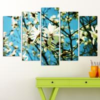 Декоративни панели за стена с  разцъфнало пролетно дръвче в бяло