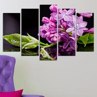 Декоративни панели за стена със свежи цветя в лилаво и зелено