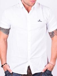 Бяла мъжка риза с къс ръкав Redfactor