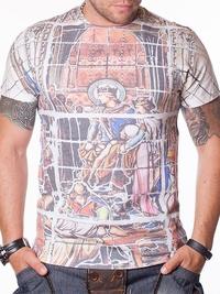Мъжка тениска с щампа King & Queen - бяла