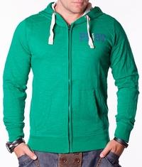 Мъжки суичър Life зелен с качулка и цип