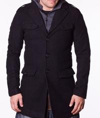 Мъжко спортно-елегантно палто Pollin черно