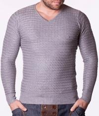 Мъжки пуловер B-BURNS сив цвят