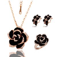 "Комплект бижута с кристали Swarovski Elements ""Golden Black Rose"""