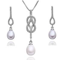 "Комплект бижута с кристали Сваровски и естествени перли ""Infinity Pearl"""