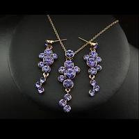 Комплект бижута 'Violet Delight' с кристали Swarovski Elements и 18K златно покритие