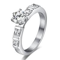 Пръстен МЕЧТА-A, стомана с инкрустирани циркони. Годежен пръстен! Размери 6, 7 и 8, Код 316L R047-A