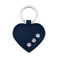 Марков кожен ключодържател Сърце DSE Swarovski Elements - морско синьо - Бизнес подарък Код 5082489