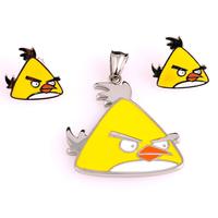 Бижута за деца ANGRY BIRDS Жълтото пиле, комплект обеци и висулка, медицнска стомана, 316L S206