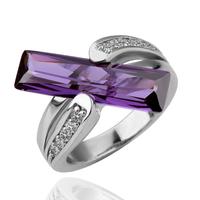 18KG R18010 Дамски пръстен с нежен лилав кристал Swarovski Elements, Zerga Jewelry