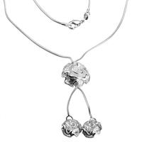 925 N07356 Заинтригуващо дамско колие Рози, сребърно покритие и печат 925!