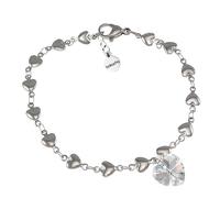 Гривна SWAROVSKI® HEART Crystal AB 10 мм, Бял цвят, Код PR B005