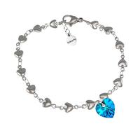 Гривна SWAROVSKI® HEART Bermuda Blue BBL, Син, 10 мм, Код PR B006