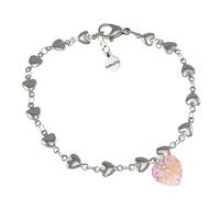 Гривна SWAROVSKI® HEART Light Rose AB - Розов, 10 мм, Код PR B013
