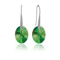 Обеци SWAROVSKI® OVAL 12мм Emerald**, Зелен, Код PR E154