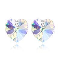 Обеци SWAROVSKI® VALENTINE HEART 10 мм, Crystal AB, Бял, Код PR E214
