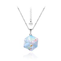 Колие SWAROVSKI® CUBE 8мм Crystal AB, Бял цвят, Код PR N041