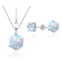 Бижута SWAROVSKI® CUBE Crystal AB, Бял цвят, Колие 8мм и Обеци 4мм,  Код PR S041