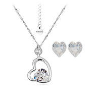 Бижута SWAROVSKI® SWEET HEART Crystal, Бял цвят, Колие и обеци (8 и 6 мм),  Код PR S115